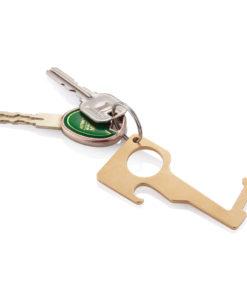 Brass hygienic zero contact keychain brown P191.089