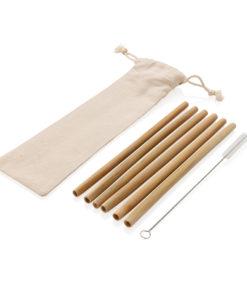 Reusable bamboo drinking straw set 6 pcs white P269.529