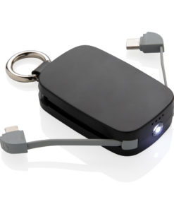 1.200 mAh Keychain Powerbank with integrated cables black P322.171