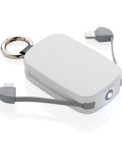 1.200 mAh Keychain Powerbank with integrated cables white P322.173