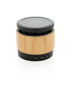 Bamboo wireless charger speaker brown
