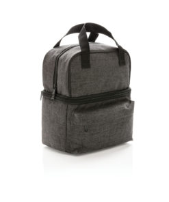 Cooler bag with 2 insulated compartments anthracite P422.232