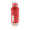 Leak proof vacuum bottle with logo plate red P436.674