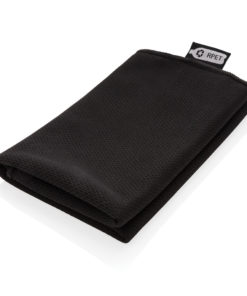 RPET sport towel in pouch black P453.781