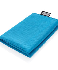 RPET sport towel in pouch blue P453.785