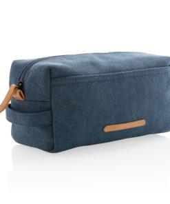 Canvas toiletry bag PVC free blue P703.045