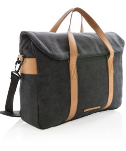 Canvas laptop bag PVC free black P729.351