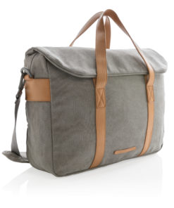 Canvas laptop bag PVC free grey P729.352