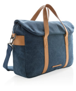 Canvas laptop bag PVC free blue P729.355