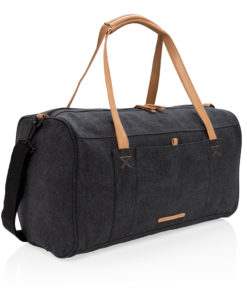 Canvas travel/weekend bag PVC free black P762.471
