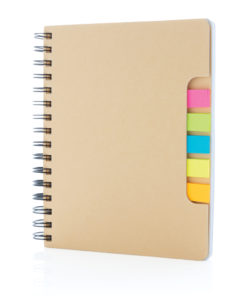 A5 Kraft spiral notebook with sticky notes brown P772.119