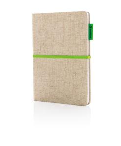 A5 Eco jute cotton notebook green