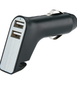 Dual port car charger with belt cutter and hammer black
