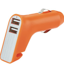 Dual port car charger with belt cutter and hammer orange