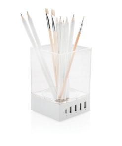 Pen holder USB charger white P308.913