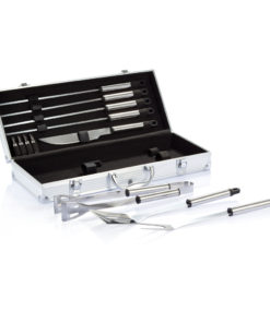 12 pcs barbecue set in aluminium box silver