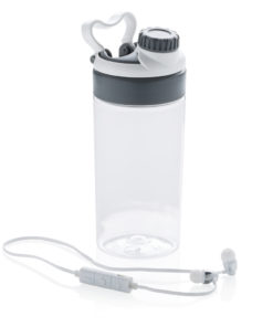 Leakproof bottle with wireless earbuds white