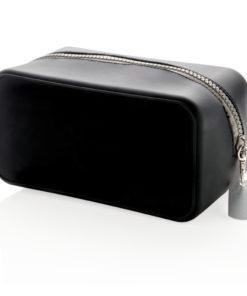Leak proof silicone toiletry bag black