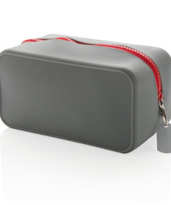 Leak proof silicone toiletry bag grey