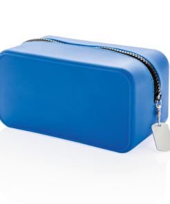Leak proof silicone toiletry bag blue
