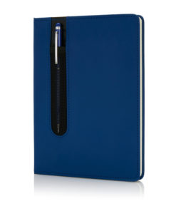 Standard hardcover PU A5 notebook with stylus pen navy P773.315