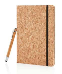 A5 notebook with bamboo pen including stylus brown P773.779