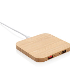 Bamboo 5W wireless charger with USB ports brown P308.189