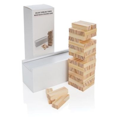 Deluxe tumbling tower wood block stacking game How high can you go? See how high you can stack the wooden blocks before they tumble with this fun tumbling tower game. The 48 blocks can be easily put away in the box lid. Comes in full colour box.